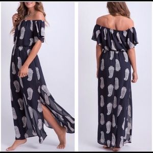 Nav and white paisley print off the shoulder maxi